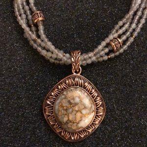 Studio Barse pendant w/ flecked stone &beaded drop